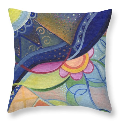 Abstract Throw Pillow featuring the digital art The Joy Of Design Vlll Part 3 by Helena Tiainen