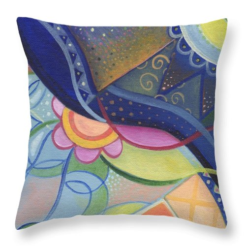 Abstract Throw Pillow featuring the digital art The Joy Of Design Vlll Part 4 by Helena Tiainen