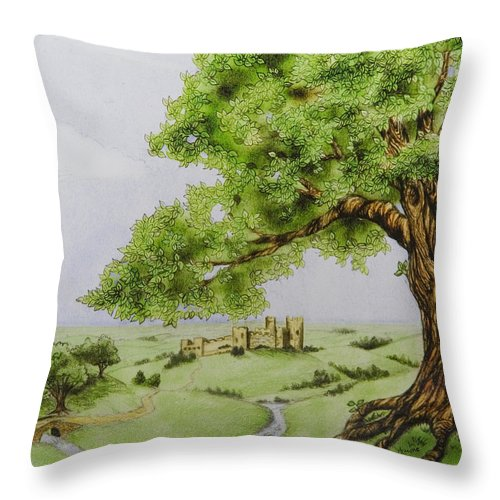 Animation Background Cartoon Castle Landscape Throw Pillow featuring the digital art The Keep by Brenda Salamone
