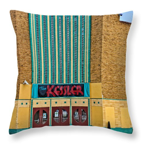 1940 Throw Pillow featuring the photograph The Kessler Movie Theater by David and Carol Kelly