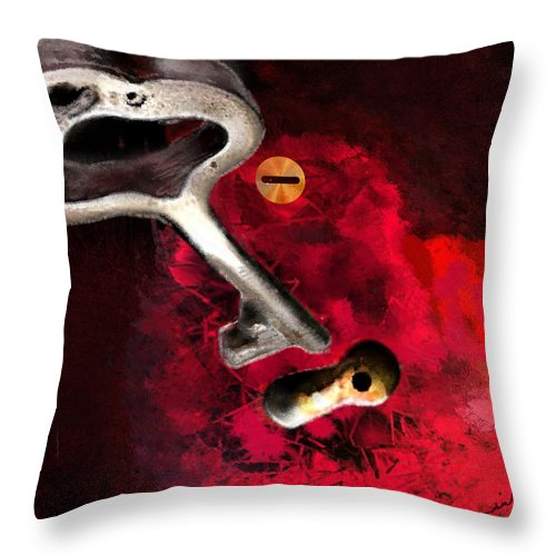 Love Throw Pillow featuring the painting The Key To My Heart by Miki De Goodaboom