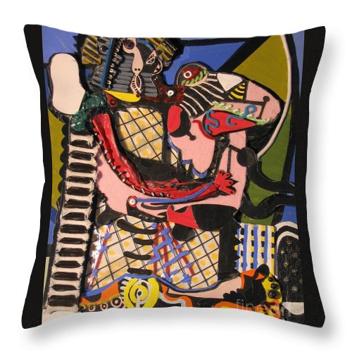 Abstract Throw Pillow featuring the mixed media The Kiss Aka The Embrace After Picasso 1925 by Mack Galixtar