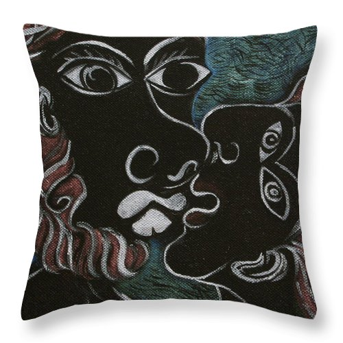 Original Throw Pillow featuring the painting The Kiss by Sue Wright