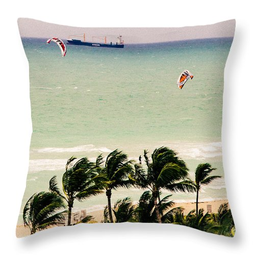 Kite Surfing Throw Pillow featuring the photograph The Kite Surfers by Rene Triay Photography