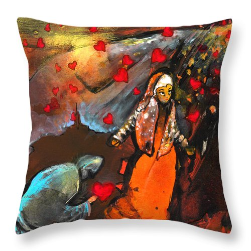 Valentine Throw Pillow featuring the painting The Knight Of Your Heart by Miki De Goodaboom