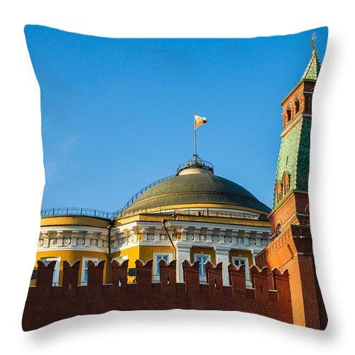Architecture Throw Pillow featuring the photograph The Kremlin Senate Building by Alexander Senin