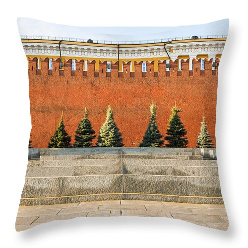Architecture Throw Pillow featuring the photograph The Kremlin Wall by Alexander Senin