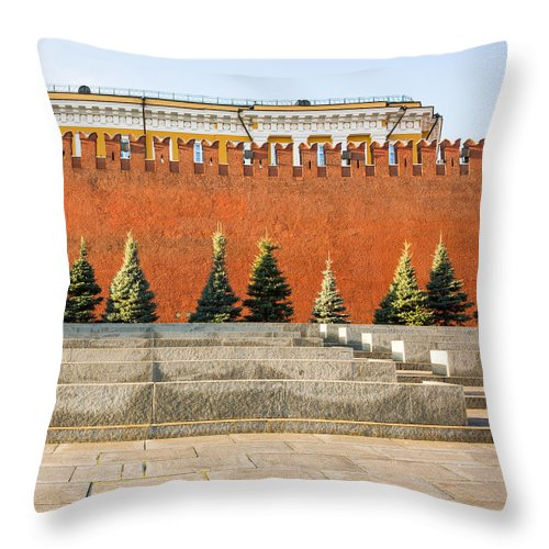 Architecture Throw Pillow featuring the photograph The Kremlin Wall - Square by Alexander Senin
