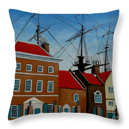 England Throw Pillow featuring the painting The Lady In Green by Anthony Dunphy