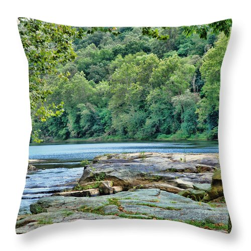 Valley Falls Throw Pillow featuring the digital art The Lake by Anita Hubbard