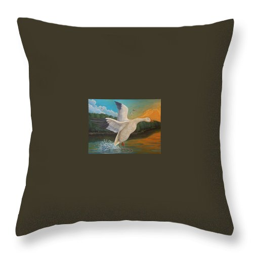 Rick Huotari Throw Pillow featuring the painting The Landing by Rick Huotari