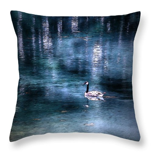 Goose Throw Pillow featuring the mixed media The Last Goose by John Haldane