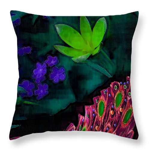 Peacock Throw Pillow featuring the mixed media The Last Peacock Pop Art by Pepita Selles