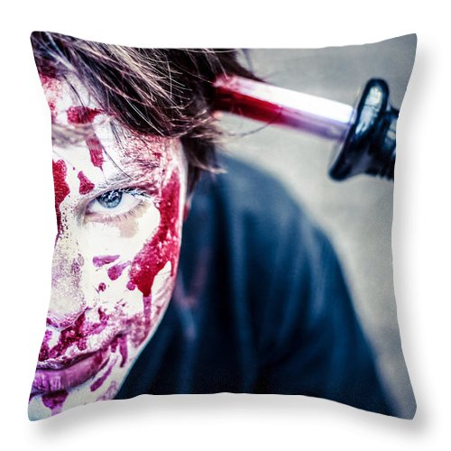 Portraits Throw Pillow featuring the photograph The Last Shock by Stwayne Keubrick