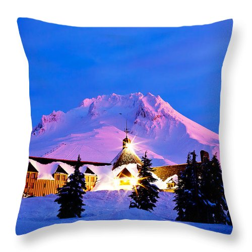 Timberline Lodge Throw Pillow featuring the photograph The Last Sunrise by Darren White