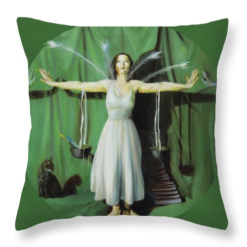 Shelley Irish Throw Pillow featuring the painting The Leaver by Shelley Irish