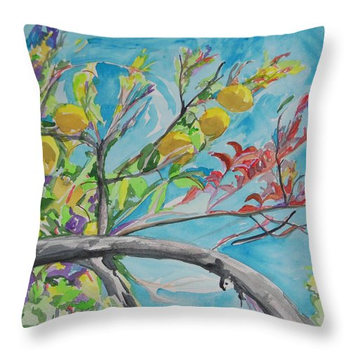 Branch Throw Pillow featuring the painting The Lemon Tree by Esther Newman-Cohen