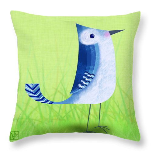 Bird Throw Pillow featuring the digital art The Letter Blue J by Valerie Drake Lesiak