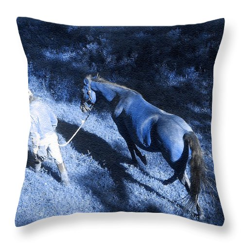 Blue Light Throw Pillow featuring the photograph The Light And Shadows Of A Man And His Horse by Patricia Keller