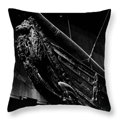 Djurg�rden Throw Pillow featuring the photograph The Lion. Wasa-museum. Stockholm 2014 by Jouko Lehto