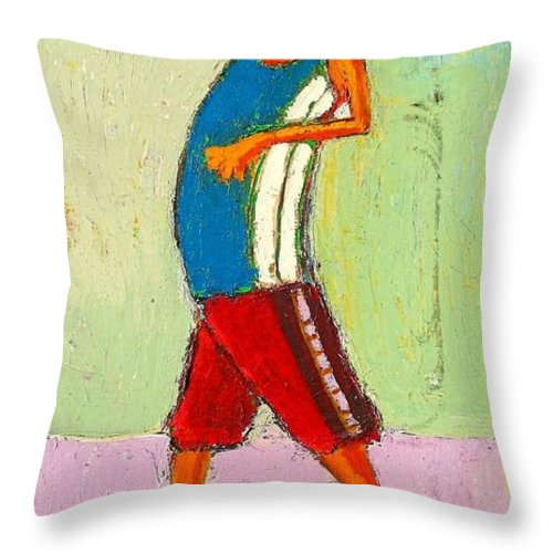 Abstract Throw Pillow featuring the painting The Little Champion by Habib Ayat