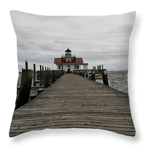 Roanoke Island Lighthouse Throw Pillow featuring the photograph The Little Lighthouse by Debra Johnson