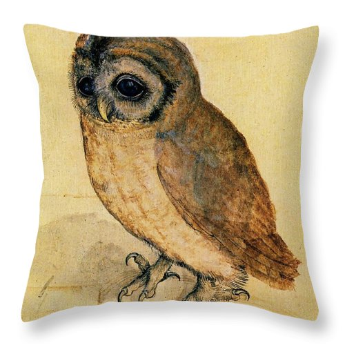 Owl Throw Pillow featuring the painting The Little Owl by Albrecht Durer