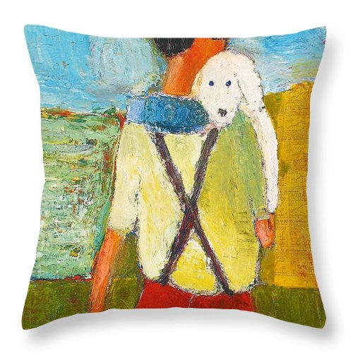 Abstract Throw Pillow featuring the painting The Little Puppy by Habib Ayat