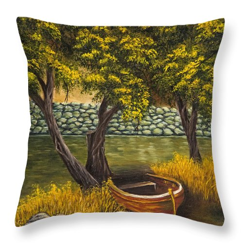 Landscape Throw Pillow featuring the painting The Little Red Boat by Darice Machel McGuire