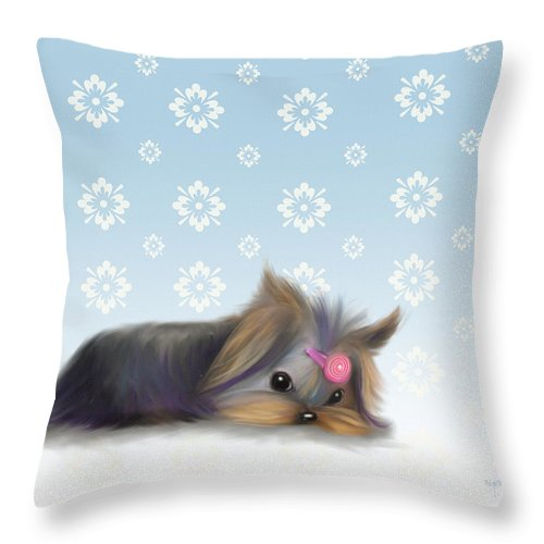 Yorkie Throw Pillow featuring the mixed media The Little Thinker by Catia Lee