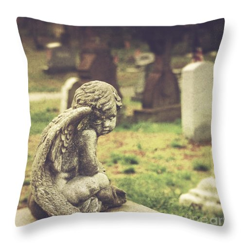 (cemetery Or Graveyard) Throw Pillow featuring the photograph The Littlest Angel by Debra Fedchin