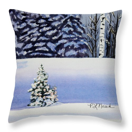 Christmas Throw Pillow featuring the painting The Lone Christmas Tree by Patricia Novack