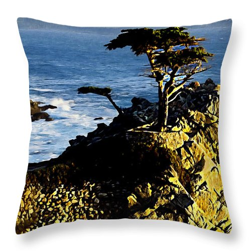 17 Mile Drive Throw Pillow featuring the photograph The Lone Cypress Carmel California by Bob and Nadine Johnston