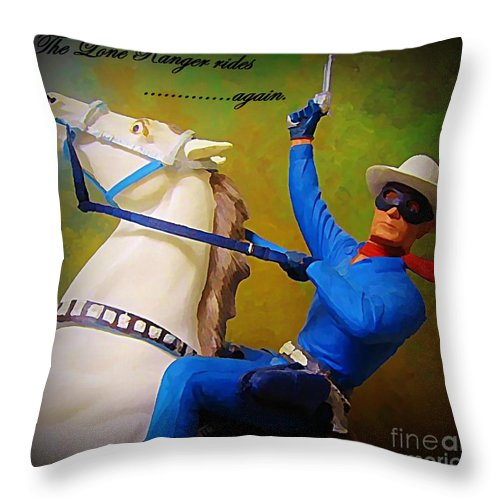 Americana Throw Pillow featuring the painting The Lone Ranger Rides Again by John Malone