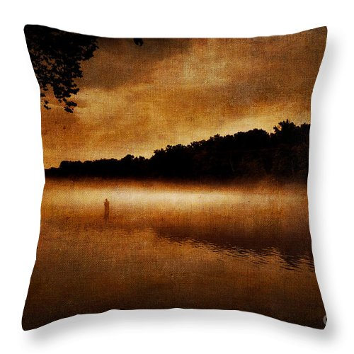 Fog Throw Pillow featuring the photograph The Lonely Fisherman by Cindy Tiefenbrunn
