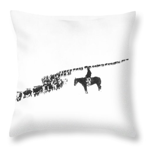 1920s Throw Pillow featuring the photograph The Long Long Line by Underwood Archives Charles Belden