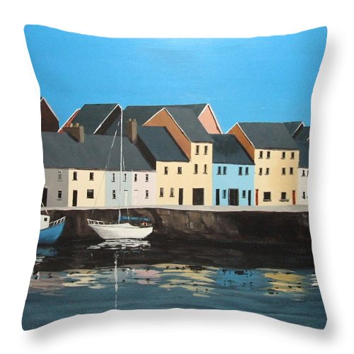 The Long Walk Throw Pillow featuring the painting The Long Walk Galway by Tony Gunning