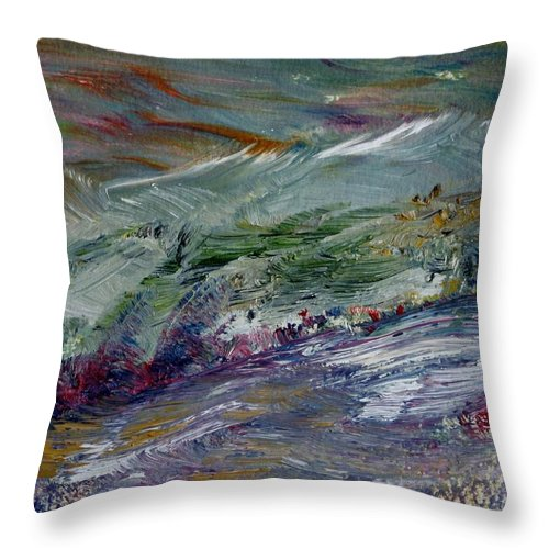 Mountain Throw Pillow featuring the painting The Long Walk Home by Edward Wolverton