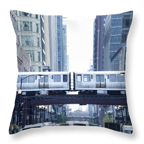 Scenics Throw Pillow featuring the photograph The Loop And El Train In Chicago by Yinyang
