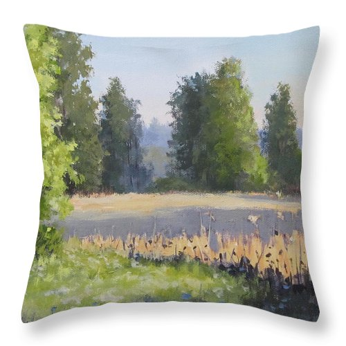Field Throw Pillow featuring the painting The Lower Field by Karen Ilari