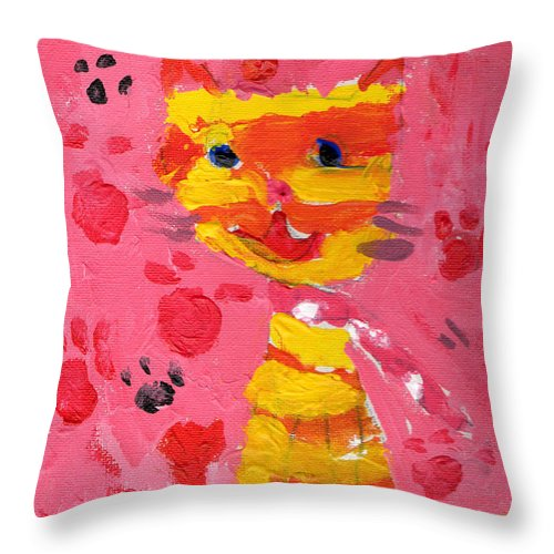 Cat Happy Smile Lucky Painting Acrylic Foot Step Steps Red Throw Pillow featuring the painting The Lucky Cat by Steve K