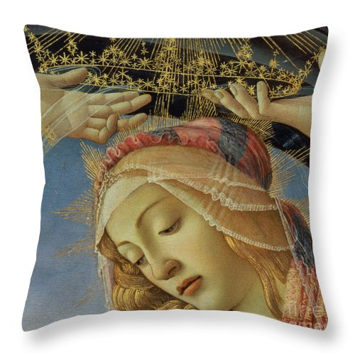 The Throw Pillow featuring the painting The Madonna Of The Magnificat by Sandro Botticelli