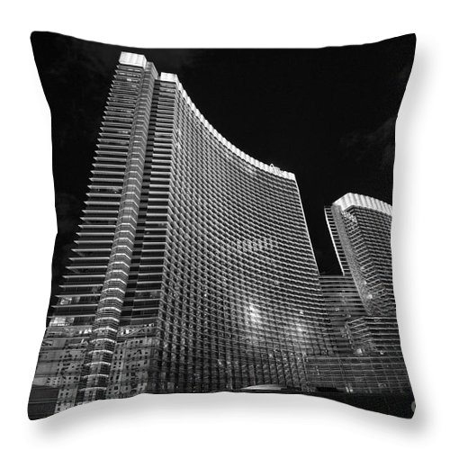 Aria Resort Throw Pillow featuring the photograph The Magnificent Aria Resort And Casino At Citycenter In Las Vegas by Jamie Pham