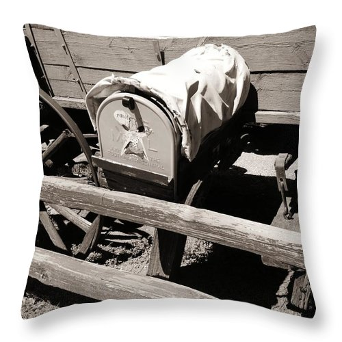 Mailbox Throw Pillow featuring the photograph The Mailbox And The Wagon by Dany Lison