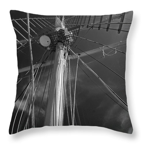 Schooner Throw Pillow featuring the photograph The Mainmast Of The Amazing Grace In Infrared by Jani Freimann