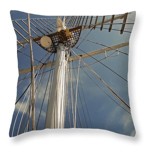 Schooner Throw Pillow featuring the photograph The Mainmast Of The Amazing Grace by Jani Freimann