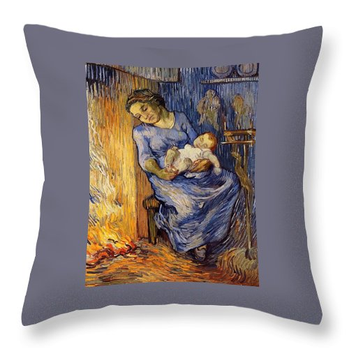 1889 Throw Pillow featuring the painting The Man Is At Sea - After Demont-breton by Vincent van Gogh