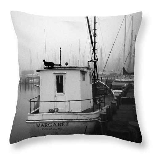 Buyboat Throw Pillow featuring the photograph The Margaret by Skip Willits