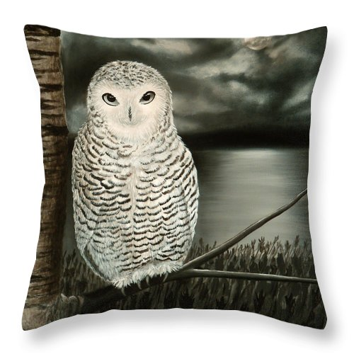 Owl Throw Pillow featuring the painting The Marsh At Night by Liz Boston