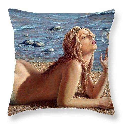 Seahorse Throw Pillow featuring the painting The Mermaids Friend by John Silver